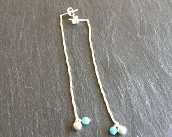genuine turquoise long earrings