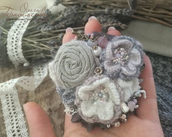 Fabric brooch in the style of a boho, textile brooch, grey knitted  brooch, free shipping, flower knitted ornaments