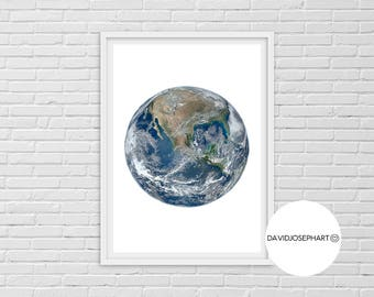 Earth Print, Planet Print, Earth Wall Art, Earth Photo, Universe Print, America Print, Modern Print, Digital Download, Earth Poster