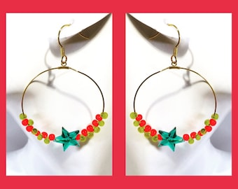 Rock Star hoop ear wires ear clips red yellow green german japanese beads earrings