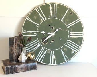 Olive Green Farmhouse Clock