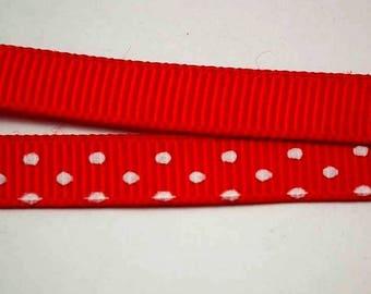 ❤1M 10 mm❤ red/white polka dot satin ribbon