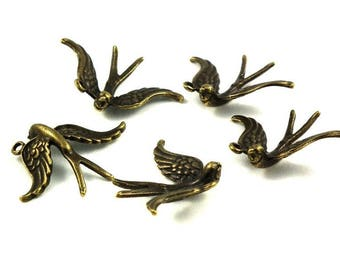 10 X 31mm A - B♥ swallow charm ♥