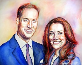 Print from my watercolour painting of Prince William & Kate Middleton A4 size