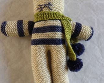 cuddly cat with stripes in garter stitch