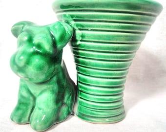 Green dog statue ceramic small pot retro/ceramic/dog/office tray statue statue
