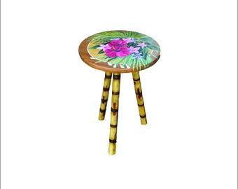 Floral Palm Side Table