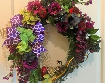 Purple Hydrangea & Geico Grapevine Wreath