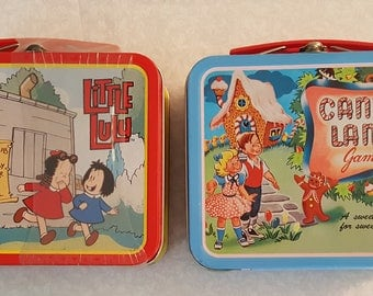 Vintage Candy Land and Little LuLu Mini Lunch Boxes / Tin Boxes