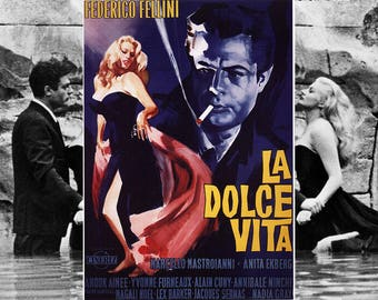 PLACEMAT semi-rigid ORIGINAL AESTHETIC WASHABLE and durable - poster - Italian film - vintage La Dolce Vita.