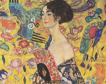 ORIGINAL design, durable and WASHABLE PLACEMAT - Gustav Klimt - Lady with a fan - classic.