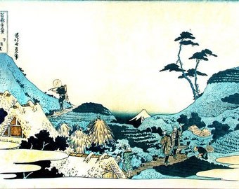ORIGINAL SEMI RIGID PLACEMAT. Hokusai. Landscape with two falconers.