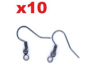 10 gunmetal ear hooks