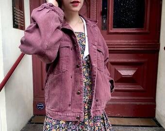 Awesome vintage denim jacket aubergine color / purple denim / 90s / boxy denim jacket / jeans jacket / Jeansjacke / fits S-L