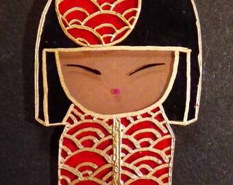 kokeshi shrink plastic pendant