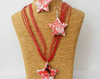Necklace + earrings red stars
