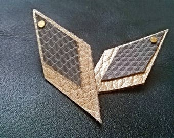Loxos Golden and gray leather earrings