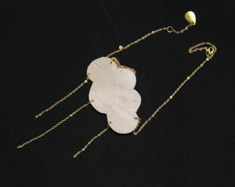 Frosty cloud Beige leather necklace
