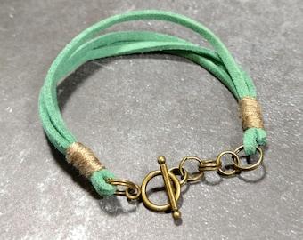 Mint Suede/Beige Cotton Toggle Bracelet