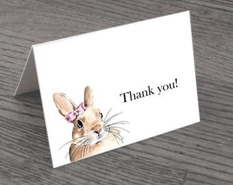 Set of Pink Bunny Thank You Cards & Envelopes
