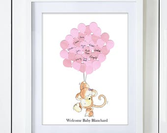 Pink Monkey Baby Shower Guest Book Alternative
