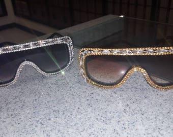 Rhinestone Burning Man Goggles, Dust Goggles,  Aviator Sunglasses, Rhinestone Sunglasses