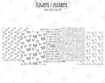 """Coloring Pages/Coloring for adults: """"Flowers & Feathers"""""""