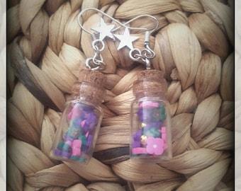 Pair of bottle and Flower Earrings