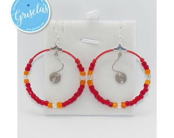003 - Earrings; Handmade Hoop with Spiral Center