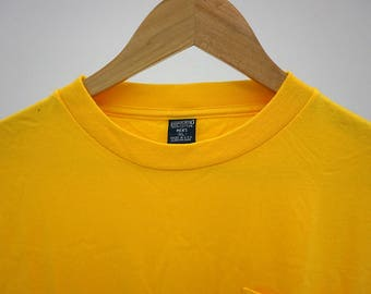 NOS Lands End Made in USA Long Sleeve Yellow Shirt Size XL Deadstock