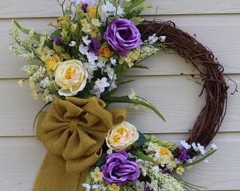 Yellow and Purple Grapevine Wreath with Yellow Burlap Bow