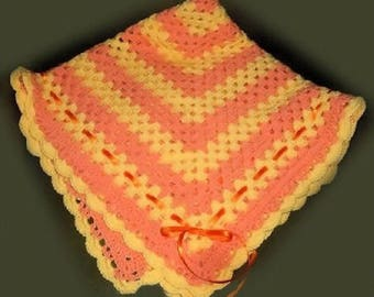 Birth with bright colors made crochet blanket