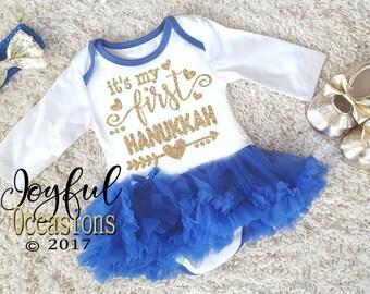 Baby Girl Hanukkah Tutu Dress - Cute 2pc White Blue and Gold Glitter Its My First Hanukkah Holiday Tutu Dress For Newborn Infants Baby Girls
