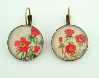 """Bronze earrings """"red flowers"""""""
