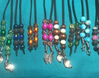 Leather lariat necklaces