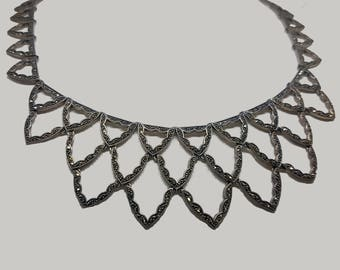 Sterling silver statement necklace with marcasites