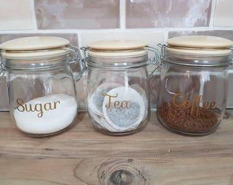 Kitchen tea, coffee, sugar decals. Canister labels/ decals