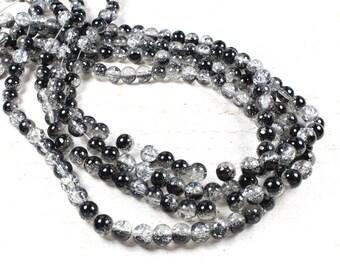 50 black & translucent bicolor Crackle glass beads 6mm