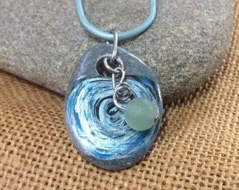 Swirling rose - lovely hand painted sea stone pendant with aventurine and silver connectors