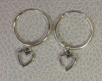 Sterling silver hoop earrings and heart charm