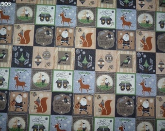 C503 Christmas Patchwork fabric grey/beige coupon 34x60cm