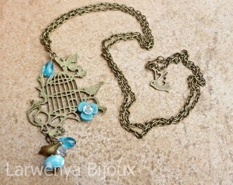 Necklace - Bronze - Blue Bird