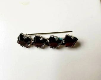 Antique Victorian Mourning Black Glass Silvertone Metal Brooch Bar Pin New Old Stock from Germany