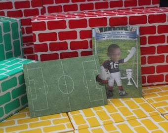 Invitation themed football field.