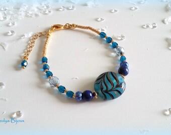 Striped glass bead & Lapis Lazuli bracelet