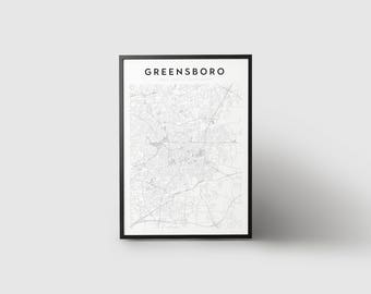 Greensboro Map Print