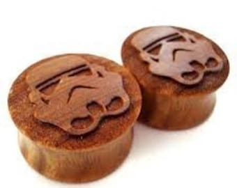 Organic Wood Storm Trooper Star Wars plugs 2 Piece (1 Pair) (A11)