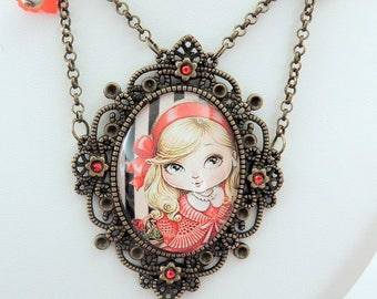 """""""Little doll cherry"""" girl bow red rhinestone Cabochon necklace"""