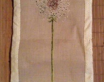 Fleece embroidered on linen wall decor