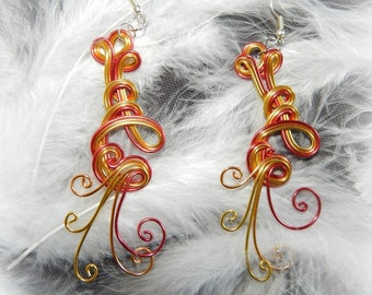 yellow, orange and Red aluminum Wire Earrings